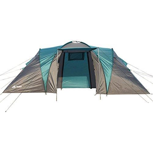 Semoo - Zelt für 4 Personen - Wasserdicht - 2 Schlafkammern + Zwischenraum mit 2 Eingängen - 3-Jahreszeiten Familien-/Gruppenzelt - Blau/Grau