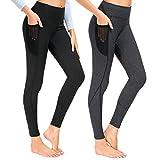 Munvot Laufhose Damen mit Tasche lang Sport Leggings Sporthose Yogahose Fitnesshose Yoga Leggings für Damen - A1231 / 2er Pack (Schwarz + Dunkel Grau)/S (DE36-38)