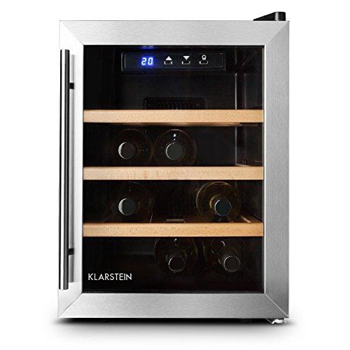 Klarstein Reserva 12 Uno • Weinkühlschrank • 33 Liter • 12 Weinflaschen • 3 x Holz-Regaleinschub • doppelt isolierte Glastür • LED-Innenraumbeleuchtung • silber