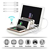 Multi USB Ladestation ValueTalks Wireless Charger Induktionsladeger Docking station Smartphone mit 4 USB kabel Ladestation mehrere Geräte Organizer für Handy iPhone iPad Tablet