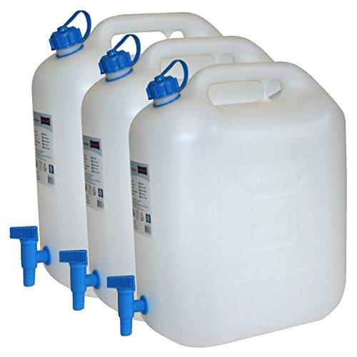 3x Wasserkanister ECO 20 Liter mit Hahn 3er Set Camping-Kanister Wassertank NEU