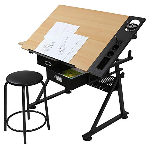 MIADOMODO Zeichentisch mit Hocker | höhenverstellbar, neigbar, mit doppelter Arbeitsfläche | in Buche | für Architekten und Techniker | Schreibtisch, Bürotisch, Arbeitstisch, Tisch, Architektentisch