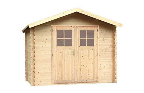 Alpholz Gerätehaus MONS aus Fichten-Holz   Gartenhaus inkl. Dachpappe   Geräteschuppen naturbelassen ohne Farbbehandlung (270 x 270cm)