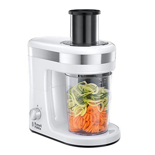 Russell Hobbs Ultimativer Spiralschneider 23810-56 / Gemüse Spiralizer in weiß  mit 3 Schneideinsätze für Spiralen oder Obst- und Gemüsenudeln / 300 W