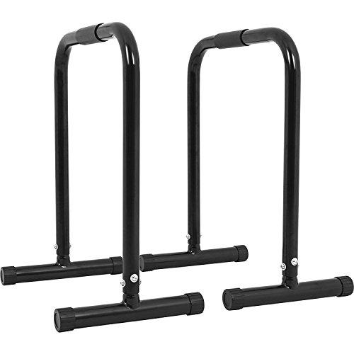 GORILLA SPORTS Dip Barren 2er Set Schwarz - Push Up Stand Bar bis 200 kg belastbar