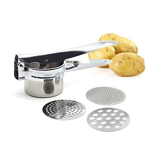 Unbekannt Kartoffelpresse Spätzlepresse Kartoffelstampfer Set aus Edelstahl mit 3 austauschbaren Einsätzen (Fein/Mittel/Grob) rostfrei spülmaschinenfest