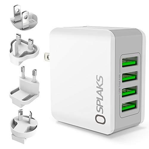 Splaks USB Ladegerät 4-Port 24W 5V/4.8A Ladegerät mit AU/UK/EU/US Internationaler Austauschbarer Reise Stecker für iPhone Galaxy S7/S8/S9/Edge/Plus Bluetooth/Tragbare Geräte-Weiß