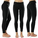 Formbelt Damen Laufhose mit Tasche lang - leggins Yoga-Hose stretch-hose hüfttasche für Smartphone Iphone Handy Schlüssel (A-schwarz, M)