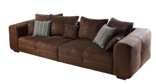Cavadore 503 Sofa Mavericco / Braune Polster Couch in Wildlederoptik / Mit Kisseneinsatz und Echtholzfüßen / 287x69x108 (BxHxT)