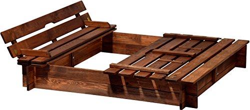 dobar 94360FSC - Sandkasten Holz mit Deckel mit Sitzbank, Sandkiste Bank groß XL viereckig mit Abdeckung, 118 x 118 x 20 cm, FSC-Holz, braun