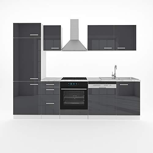 Vicco Küche 270 cm Küchenzeile Küchenblock Einbauküche Komplettküche – Frei Kombinierbar (Anthrazit Hochglanz)