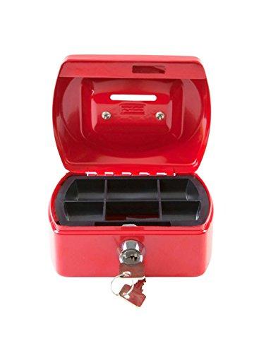Idena 50032 Geldkassette Mini, 125 x 95 x 60 mm, Rot