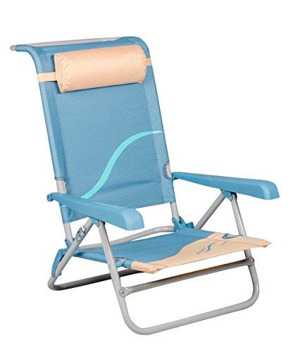 Meerweh Erwachsene Strandstuhl mit Verstellbarer Rückenlehne und Kopfpolster Klappstuhl Anglerstuhl Campingstuhl, Beige/Blau, XXL