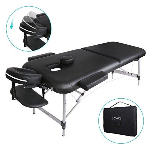 Naipo Massagetisch Massageliege klappbar höhenverstellbar Aluminium mit Premium-PU-Leder hoch dichter Schaum schwarz (leicht 11.6kg, belastbar bis 270kg)