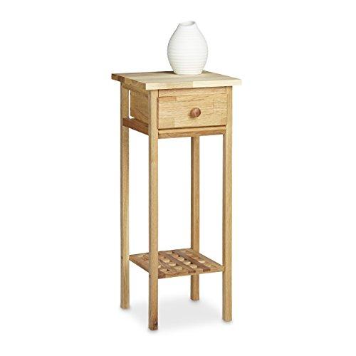 Relaxdays Telefontisch Walnuss HBT: ca. 60 x 25 x 25 cm Beistelltisch mit Schublade Konsolentisch aus Holz Pflanzentisch 60 cm hoch Blumentisch, walnuss