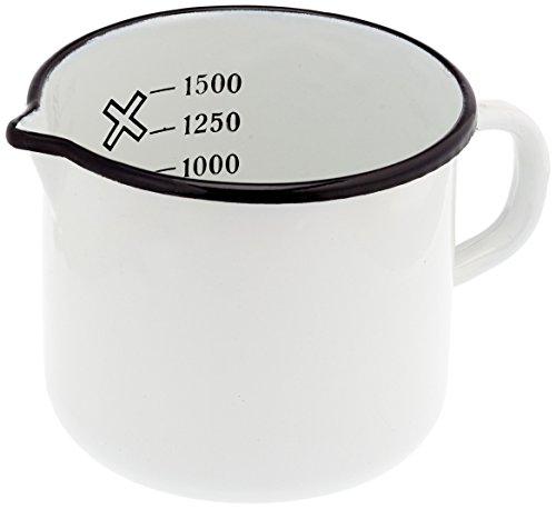 Krüger Milchtopf mit Ausguss 1, 5 Liter, 14cm, Emaille, Weiß, 14 cm, 30 x 7.5 x 30 cm, 1 Einheiten