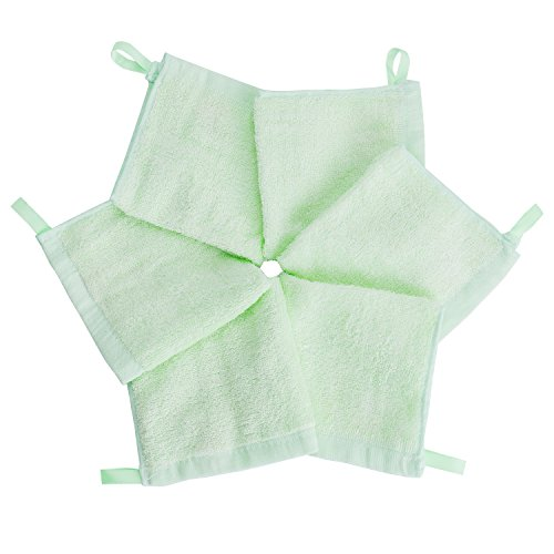 5er Pack Baby Waschlappen Super weich 25/25cm 100% Bambus-Baumwolle, von Future Founder (5 Farben)