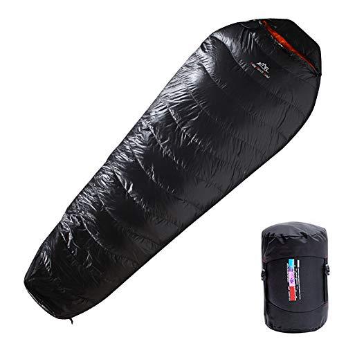 LMR Outdoor Daunenschlafsäcke Professionelle Ente runter 1000g Füllung Ultralight Mumienschlafsack für Camping mit Kompression Sack Sleeping Bag (Shwarz)