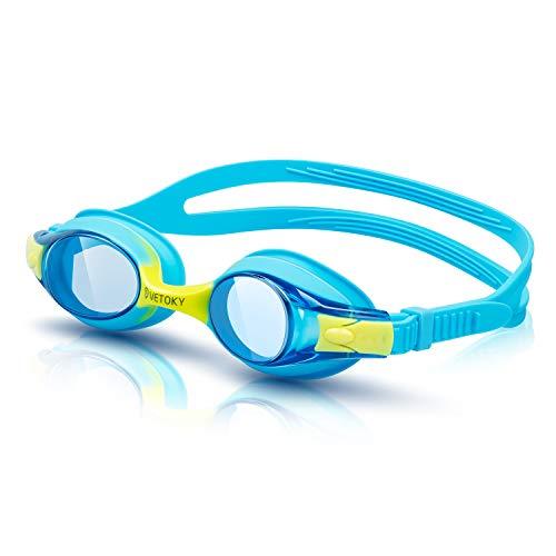 VETOKY Kinder Schwimmbrille, Antibeschlag Schwimmbrillen UV Schutz Kristallklare Sicht kein Auslaufen für Mädchen und Jungen Altersgruppen 3-10 Jahre Blau