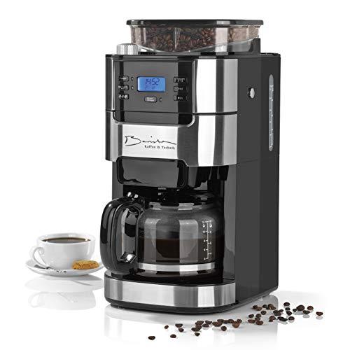 Barista Filterkaffeemaschine Mit Mahlwerk | Inkl Glas-Kanne Für Bis Zu 12 Tassen Kaffee | Für Kaffeebohnen Und Kaffeepulver [ 1,5 Liter / 900 Watt  /Edelstahl ]