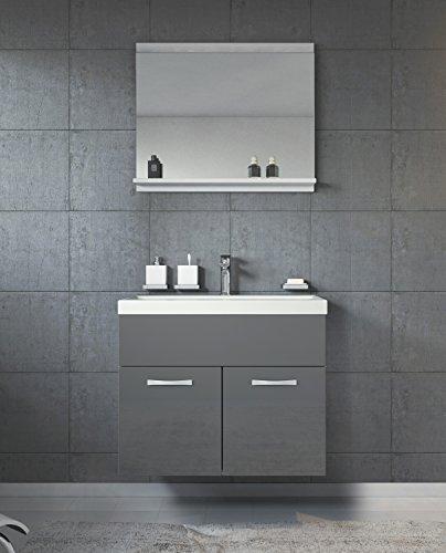 Badezimmer Badmöbel Montreal 02 60cm Waschbecken Hochglanz Grau Fronten - Unterschrank Waschtisch Spiegel Möbel