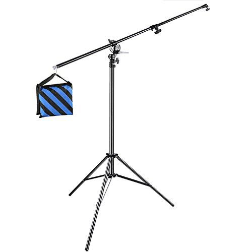 Neewer Galgenstativ Lampenstativ 2 in 1 Licht Stativ mit Auslegerarm und blauem Sandsack zur Unterstützung von Softbox Studio Blitz für Video Porträt Fotografie, Aluminiumlegierung (leerer Sandsack)