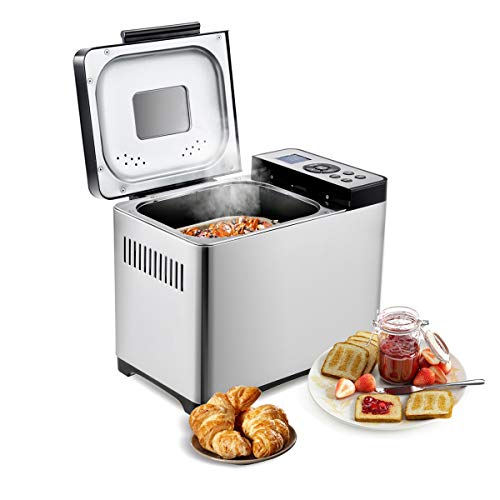 COSTWAY Brotbackautomat Brotbackmaschine Brotbäcker 19 Programme/Edelstahl / 650W / 500-1000 Brotgewicht / 15 Stunden Timing Funktion/LED