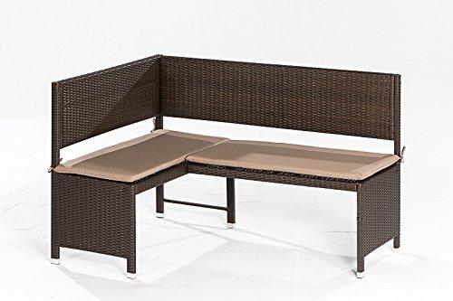 Eckbank GRAZ 148x100cm, Stahl + Polyrattan mocca, mit Auflage creme