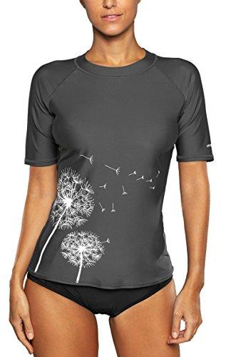 Attraco Damen Badeanzug Rash Guard UV Schutz Shirts Kurzarm Surf Shirt Schwimmshirt UPF 50+ Grau L