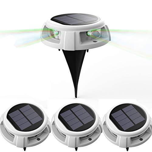 Solar-Bodenleuchte, Veofoo RGB-Solar-Gartenleuchten - 4 LED IP68-Außenleuchten für wasserdichte Sicherheitsleuchten, Landschaftsbeleuchtung mit Spikes für den Rasenweg in der Hofeinfahrt (4piece)