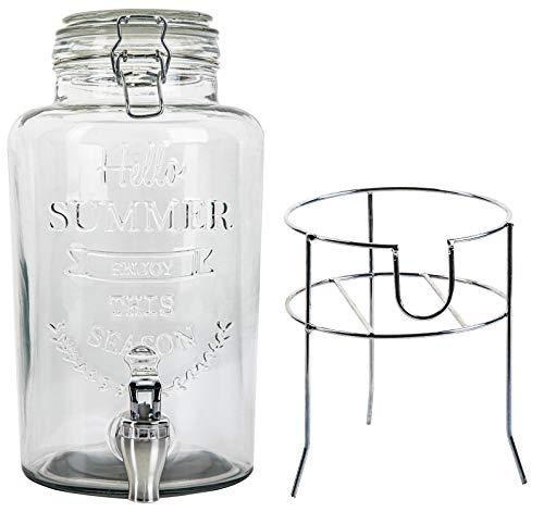 Monster24 Hochwertiger Getränkespender 3 Liter aus Glas mit Ständer Zapfhahn Prägung/Schriftzug Glasdeckel | Wasserspender | Limonadenspender | Saftspender | Bowle | Dispenser | Schorle | Erfrischung