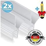 Premium Duschtür Dichtung 2 x 120 cm - Mit verlängerten Gummilippen für trockenen Boden im Bad - Glastür Duschdichtung für 6mm, 7mm, 8mm Glasdicke - Duschleiste für Duschkabine mit Wasserabweiser
