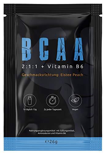 BCAA (PROBE ICE TEA PEACH) Hochdosiertes Aminosäuren Pulver In Deutscher Premium Qualität Vegan Sensationeller Geschmack 2 Portionen