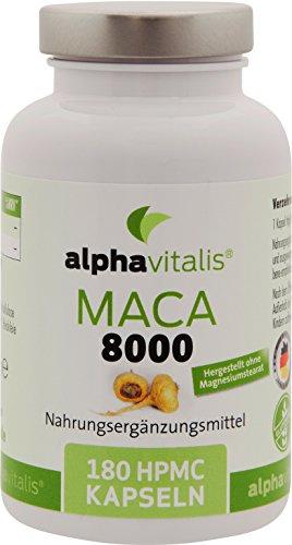 Maca Gold 8000 – 180 Maca Kapseln 20:1 Extrakt - vegan - ohne Magnesiumstearat - hochdosiert und in Premiumqualität - Jetzt fast doppelt so stark!