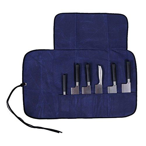 HANSHI 6 Fächer Kochtasche Messertasche Rolltasche Für Koch Köche Geschenk für Freunde Verwandte Mit Segeltuch-Band HGJ03-M