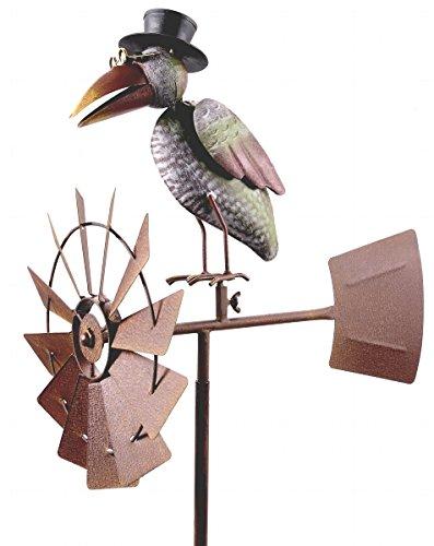 Windrad ArtFerro, Rabe, Metall, 50x30x151, detailreich, handbemalt