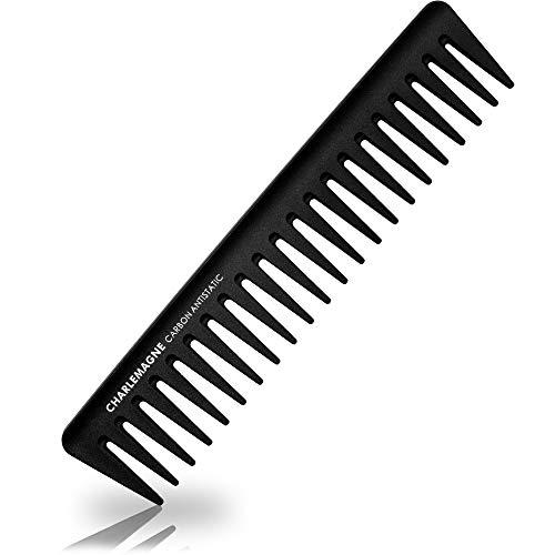 Charlemagne Styling Kamm Herren | Bruchfester Premium Carbon Kamm für Haare & Bart | 19cm Grobe Zahnung | Antistatischer Styling Haar Kamm Grob Friseur | Styling für Männer und Frauen