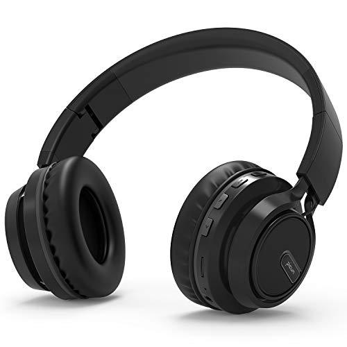 Bluetooth Kopfhörer BAONUOR Kabelloser Kopfhörer mit Kräftigen Bass-Sound, 24 Stunden Spielzeit, Beleuchtung Effekt, Mikrofon Freisprechen für Smartphone/PC, Schwarz