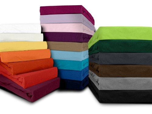 klassisches Jersey Spannbetttuch - erhältlich in 22 modernen Farben und 6 verschiedenen Größen - 100% Baumwolle, 120 x 200 cm, apfelgrün