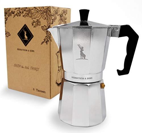 Bergström & Sons Espressokocher | Espressokanne aus Aluminium | Camping Kaffeekocher | Moka-Kanne mit Einem Fassungsvolumen von 6 Tassen | Inklusive gratis Jute Bag | Enjoy The Moment