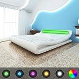 Xingshuoonline LED Bett Kunstlederbett Weiß Bettrahmen Doppelbett Bettgestell 180 x 200 cm