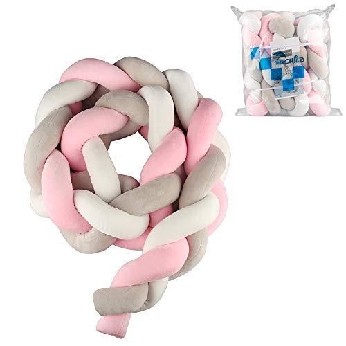 Luchild Bettumrandung Babybett Länge 2m Baby Nestchen Bettumrandung Weben Geflochtene Stoßfänger Dekoration für Krippe Kinderbett (Rosa + weiß + grau)