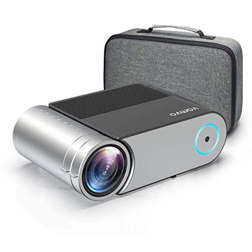 Beamer, Vamvo Mini Beamer Full HD 4000 Lumens, Projektor 1280*720P mit Tragetasche unterstützt 1080P Multimedia LED 50000 Stunden Heimkino und Fußball Spiel Spaß Kompatibel mit HDMI/VGA/USB/AV