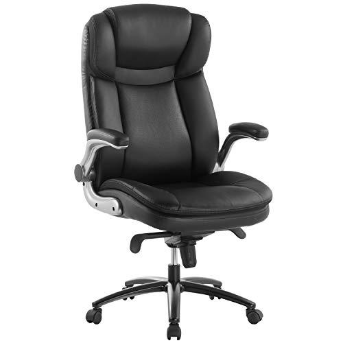 Topsky Chefsessel Bürostühle großer Ledersessel Flip Armlehne Kippverriegelung Memory Foam Sitz(Shwarz)