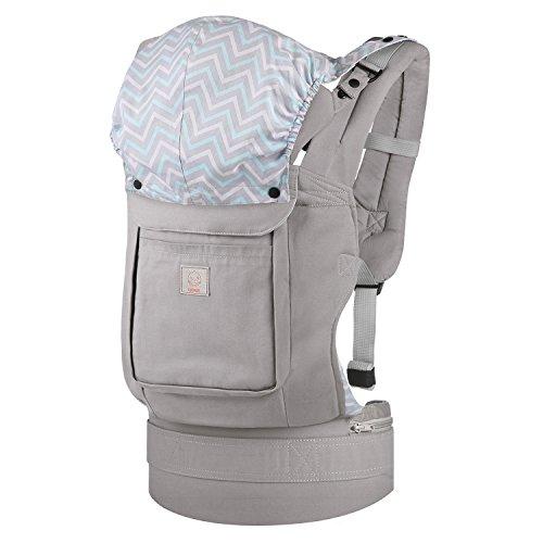 GAGAKU Ergonomische Baumwoll Babytrage Rücken mit Abnehmbarer Kapuze 5,5-15 kg 4-48 Monate- 3 Tragepositionen