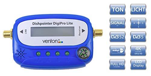 Venton Satfinder Satellitenfinder Signal Tester Sat Messgerät mit Kompass und Display - für Satellit LNB HD TV 4K digital - zur Justierung Ihrer Schüssel Antenne Spiegel - Set inkl. F-Kabel