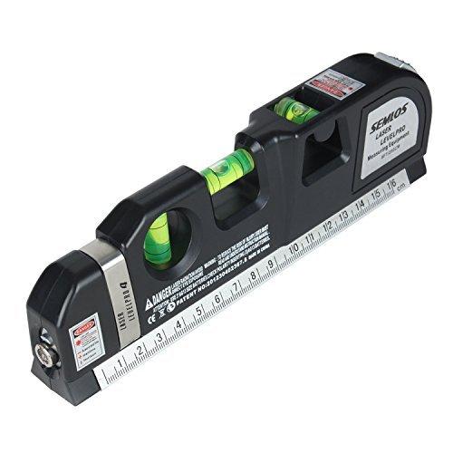 Semlos Laser-Wasserwaage (Bandmaß 250cm,vertikal und 45 Grad Wasserwaage,Wasserwaage mit)