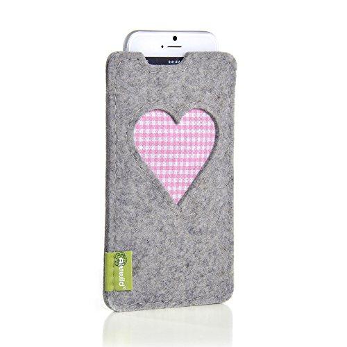 ALMWILD Hülle, Tasche für Apple iPhone 8,7,6 MIT Apple Leder Case / Silikon Case aus Filz. In Alpstein- Grau mit Herz. Handyhülle Handytasche Gschbusi in Bayern handgefertigt.