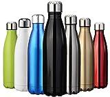 ZUSERIS Thermobecher Doppelwandige Trinkflasche Edelstahl Sportflasche Wasserflasche Camping Reisebecher Thermosflasche Haelt Getraenke 12 Stunden Kalt & 24 Heiß BPA Frei - (Schwarz, 750ml-25oz)