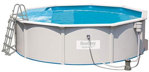 Bestway Hydrium Pool Set, rund 460x120 cm Stahlwandpool-Set mit Filterpumpe + Zubehör, weiß